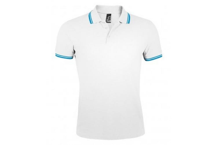SOLS Mens Pasadena Tipped Short Sleeve Pique Polo Shirt (White/Aqua Blue) (S)