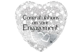 Oaktree 18 Inch Entwined Hearts Engagement Heart Shaped Foil Balloon (Silver/White)