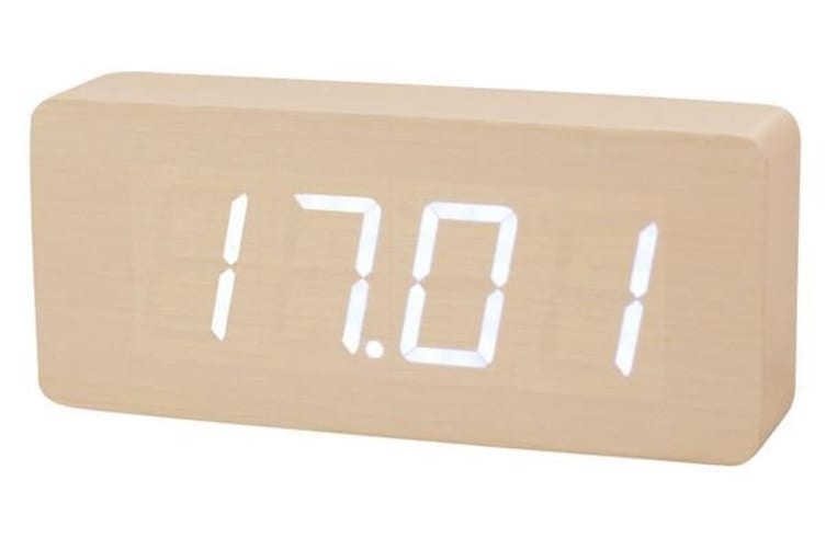 White Led Wooden Alarm Clock Temperature Display  Battery Woodgrain Beige 6016
