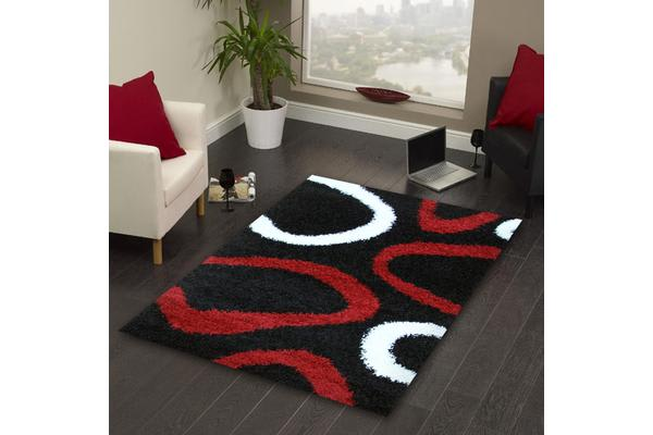 Modern Shag Rug Hoops Black Red White 170x120cm