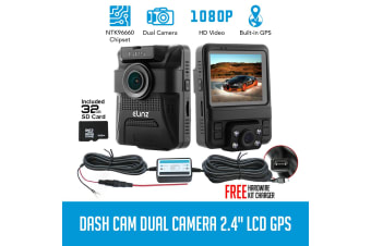 Elinz Dash Cam Dual Camera Rotatable Lens Car Video 1080P HDMI GPS 150degNovatek 32GB Taxi Uber Hardwire Kit Charger