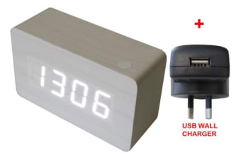 White Led Wooden Alarm Clock Temp Display + Usb Wall Charger Wood White 6030