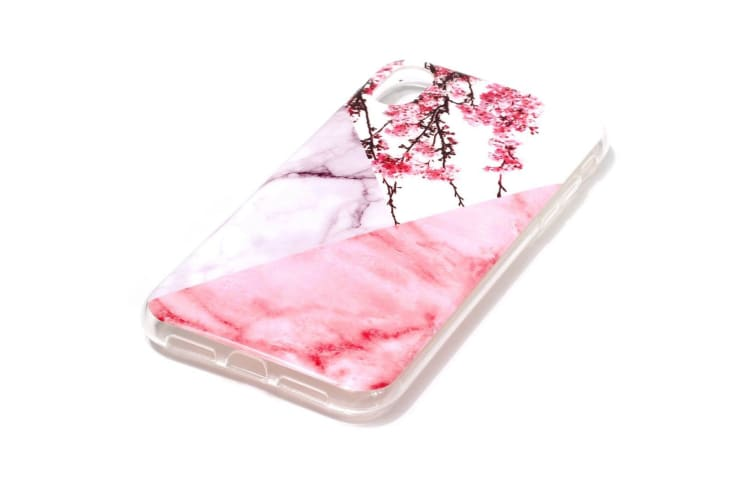 For iPhone XS & X Case Plum Blossom Marble Pattern TPU Shockproof Back Shell Cover