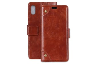 For iPhone XR Case Brown Copper Buckle Nappa Texture Folio Leather Cover
