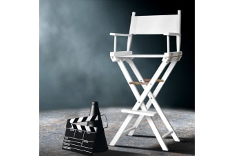 Artiss Professional Tall Director Chair Makeup Artist Movie Chairs Folding White