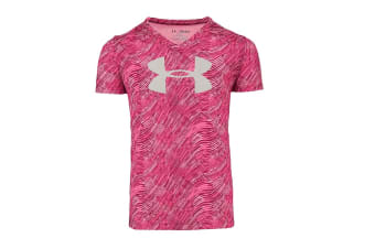 Under Armour Girls' Tech Big Logo V-Neck (Pink Zebra/Grey, Size L)