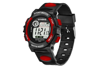 Men'S Electronic Fashion Multifunctional Sports Waterproof Watch Red