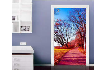3D Roadside Withered Trees Door Mural Woven paper (need glue), XL 205cm x 80cm (HxW)(81''x31'')