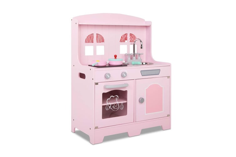 Keezi Kids Wooden Kitchen Play Set - Pink and Silver