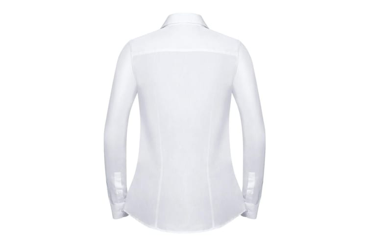 Russell Collection Womens/Ladies Long Sleeve Tailored Coolmax Shirt (White) (3XL)