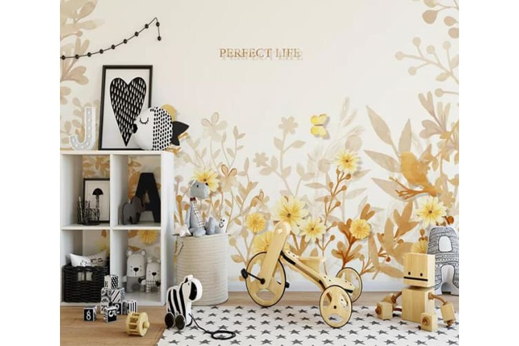 3D Yellow Leaves 550 Wall Murals Self-adhesive Vinyl, XXXL 416cm x 254cm (WxH)(164''x100'')