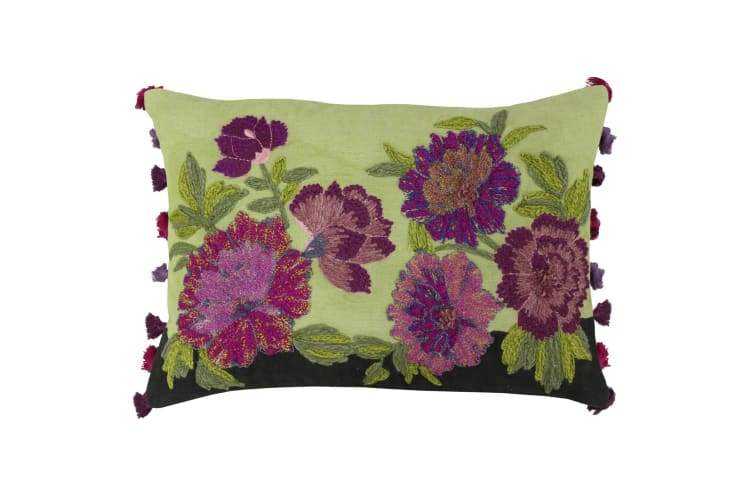 Riva Home Fiori Cushion Cover (Green/Magenta) (35 x 50cm)