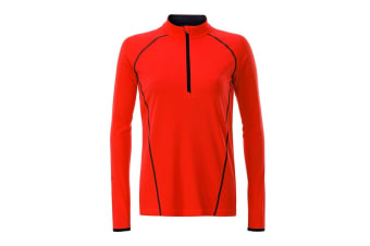 James and Nicholson Womens/Ladies Long Sleeve Sports Top (Bright Orange/Black) (M)