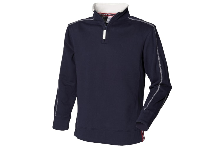 Front Row Mens Zip Neck Sweatshirt (Navy/Arctic White) (XS)