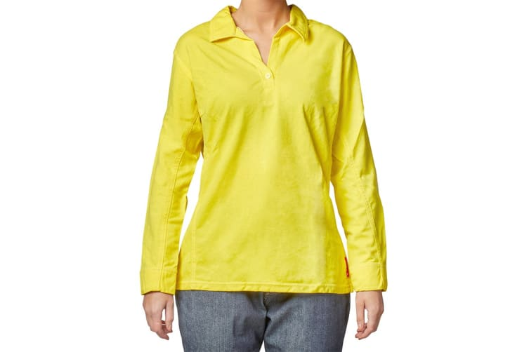 Hard Yakka Women's Bulwark iQ Flame Resistant Hi-Vis Long Sleeve Polo (Yellow, Size L)