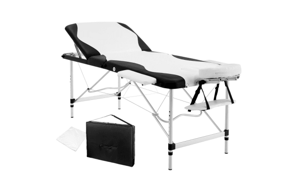 massage table and chair. Portable Aluminium 3 Fold Massage Table Chair Bed (Black/White) 75cm And