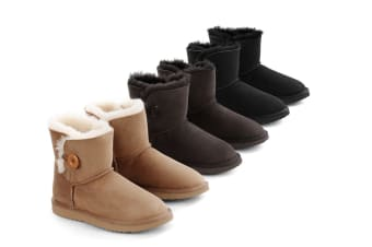 Outback Ugg Boots Mini Button - Premium Sheepskin (Black, 9M / 10W US)