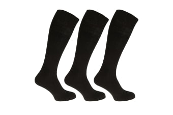 Mens 100% Cotton Ribbed Knee High Socks (Pack Of 3) (Black) (UK 6-11  EUR 39-45)