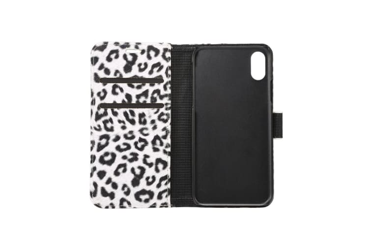 For iPhone XS X Wallet Case Styled Leopard Durable Shielding Leather Cover White