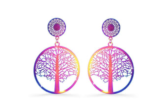 Laser Etched Earrings In Rainbow