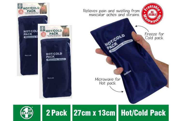 2x Hot Cold Gel Pack Reusable Microwaveable Freezer Ice Pain Relief First Aid