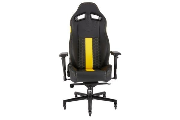 CORSAIR T2 ROAD WARRIOR, High Back Desk and Office Chair, Black/Yellow, 2 Year Warranty.