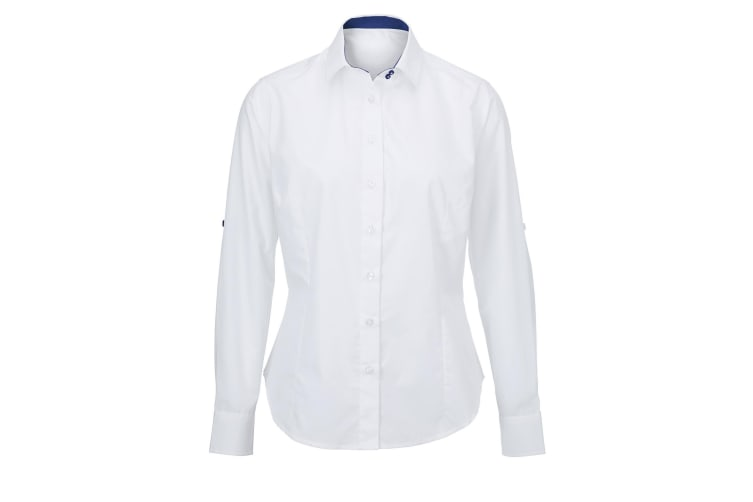 Alexandra Womens/Ladies Roll Sleeve Hospitality Work Long Sleeve Shirt (White/ Royal) (L)