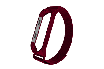 Select Mall Watch Bands for Mi Band 4/3 Wrist Strap Metal Screwless Stainless Steel for Xiaomi Mi Band 4/3 Strap Bracelet -WINE RED