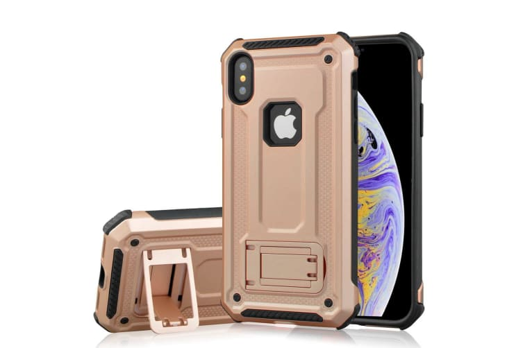 For iPhone XS Max Cover Shockproof Thin Strong Armour Kickstand Case Rose  Gold