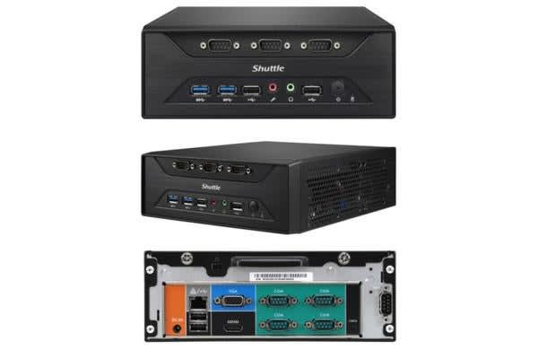 Shuttle XC60J Fanless 3L PC - Celeron J3355, 2x DDR3L SODIMM, 1x 2.5 or 3.5' HDD, M.2, 8x RS232, 1x VGA + 1x HDMI, USB3.0, WLAN optional, VESA optiona