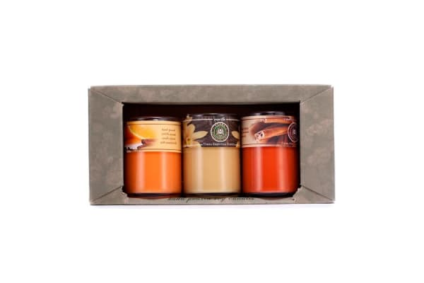 Terra Essential Scents Hand-Poured Soy Candles Gift Set: Cinnamon Stick + Orange Spice + Vanilla (3pcs)