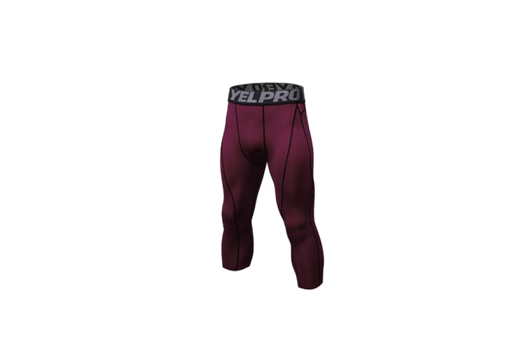 Men'S Compression Capri Shorts Baselayer Cool Dry Sports Tights - Wine Red Red XXL