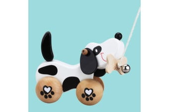 Cute Retro Wooden Puppy Dog Pull Toy With Bell