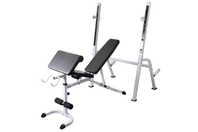 vidaXL Workout Bench with Weight Rack Barbell and Dumbbell Set 30.5kg