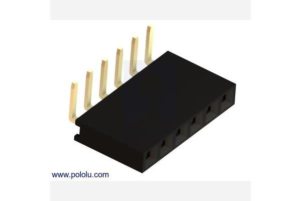 """0.100"""" (2.54 mm) Female Header: 1x6-Pin, Right-Angle"""