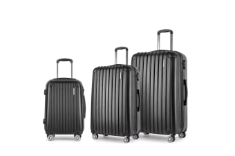 Set of 3 Hard Shell Travel Luggage with TSA Lock (Black)