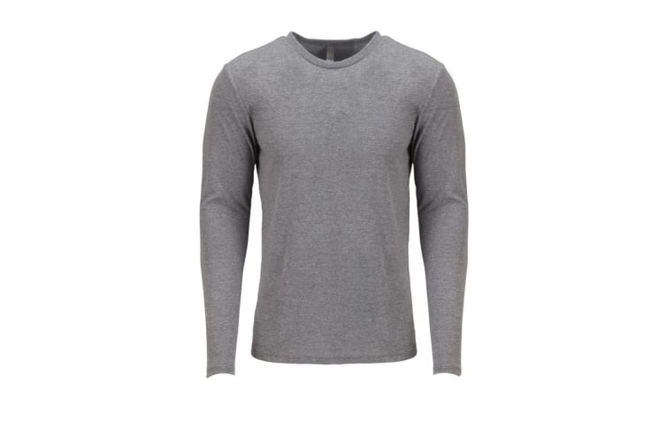 Next Level Adults Unisex Long Sleeve Tri-Blend Crew T-Shirt (Premium Heather Grey) (M)