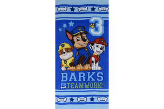 Paw Patrol Childrens/Kids Character Beach Towel (Barks For Teamwork (Blue)) (70 x 140 cm)