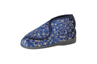Zedzzz Womens/Ladies Geraldine Touch Fastening Floral Bootee Slippers (Navy Blue)