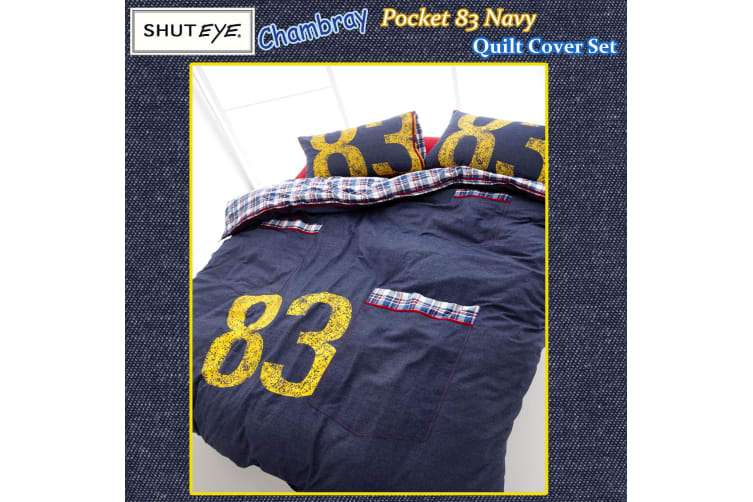 Chambray Pocket 83 Navy Quilt Cover Set SINGLE