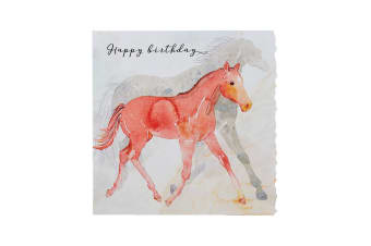 Deckled Edge Fanciful Dolomite Greetings Card (Happy Birthday - Foal (White/Red))