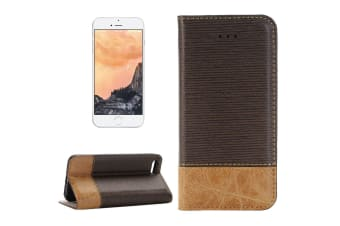 For iPhone 8 7 Wallet Case Stylish Canvas Durable Protective Leather Cover Brown