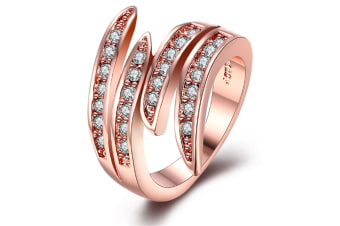 18K Rose Gold Plated Cocktail Flame Ring 8