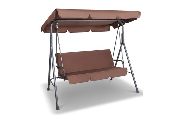 3 Seater Outdoor Canopy Swing Chair (Coffee)