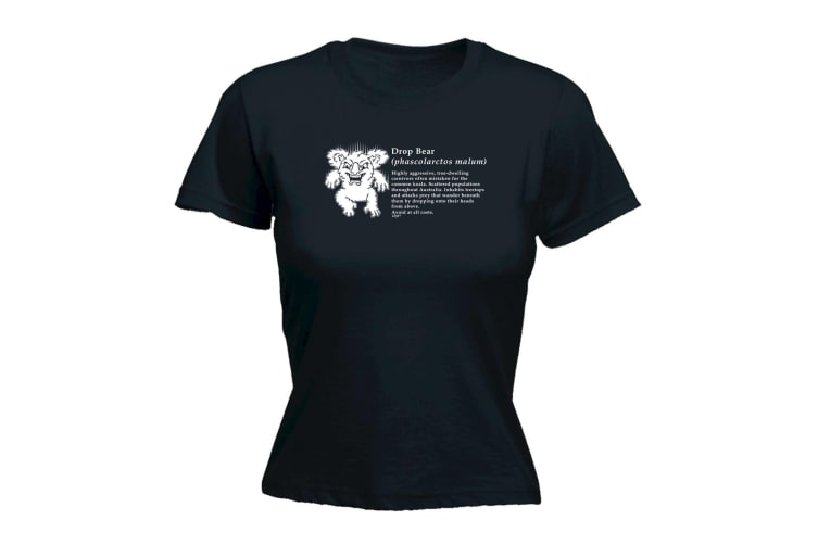 123T Funny Tee - Drop Bear Definition - (XX-Large Black Womens T Shirt)