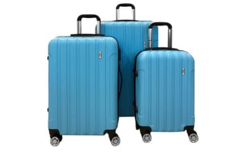 TODO Todo Ultra Light Luggage Set 3Pcs Hard Shell Combination Locks Blue