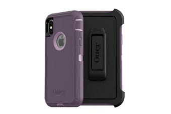 Otterbox Defender Rugged Tough Case Cover w/ Belt Clip for iPhone X/Xs Purple