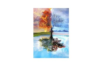 5D Diy Painting By Number Kits Colorful Four Season Tree Cross Stitch Patterns