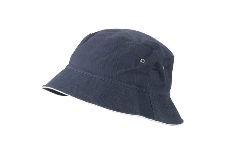 Myrtle Beach Childrens/Kids Fisherman Piping Hat (Navy/White) (One Size)