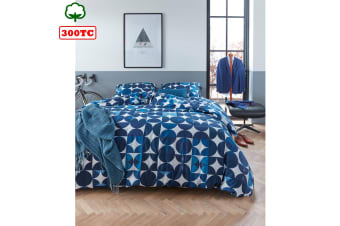 300TC Cotton Percale Quilt Cover Set Alster Blue by Bedding House
